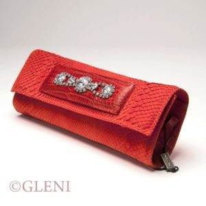 Python handbag - Luxury red clutch by Gleni