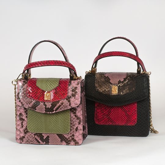 Luxury small python handbags by Gleni