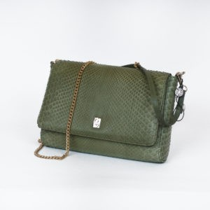 Giulia. Luxury green python clutch