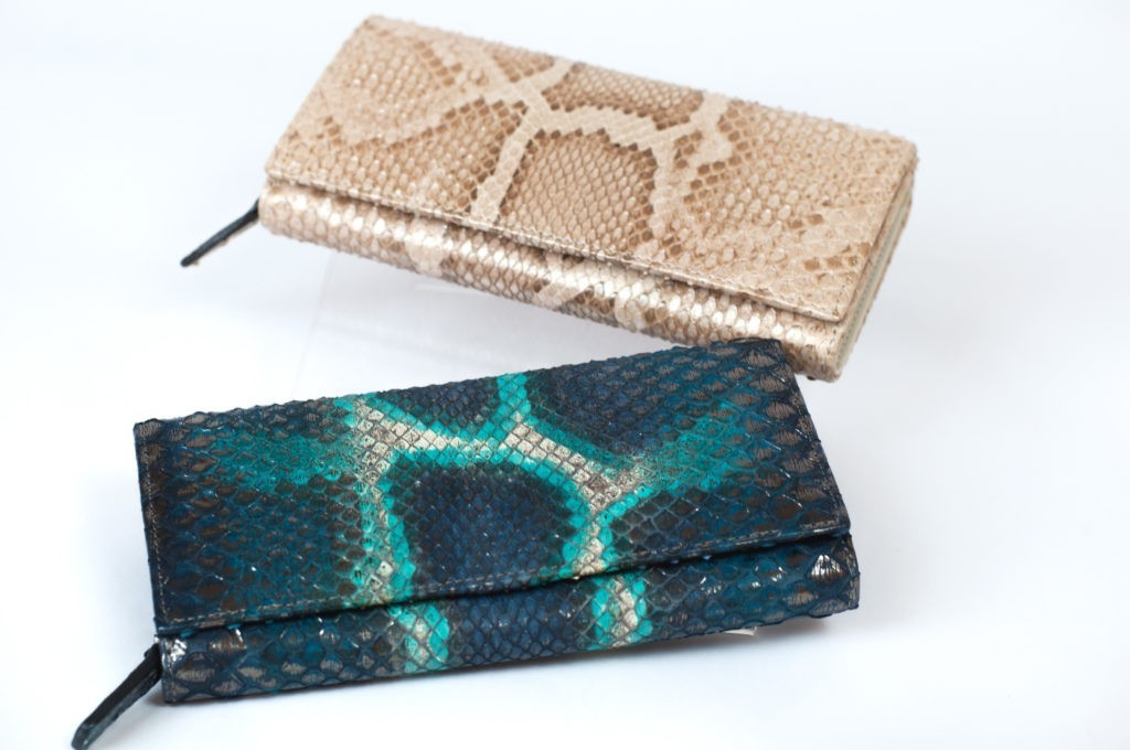 Blue and champagne python woman wallet