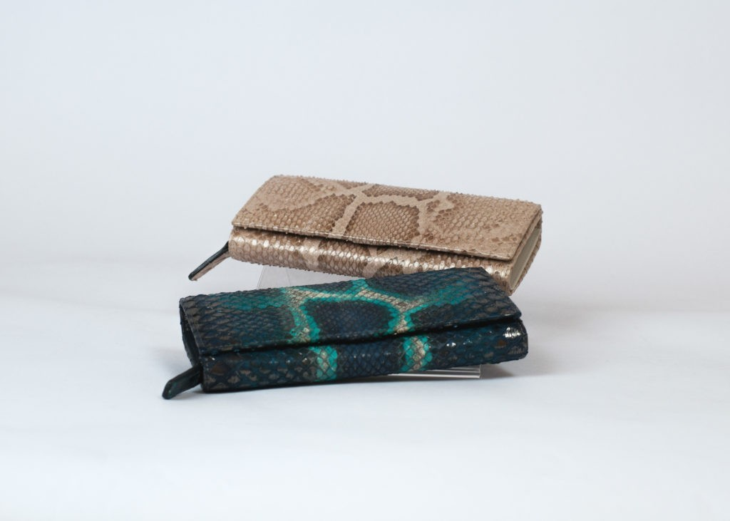 Woman python wallet in blue and champagne