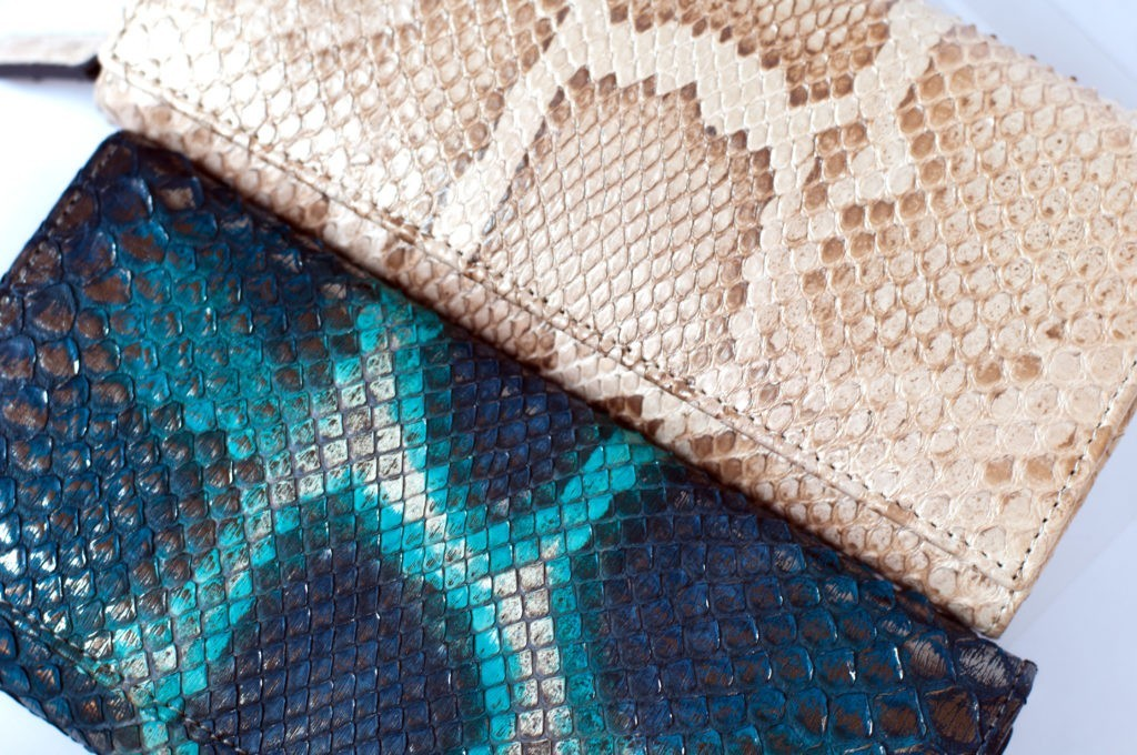 Blue and champagne tonalities of amazing genuine python Molurus wallet