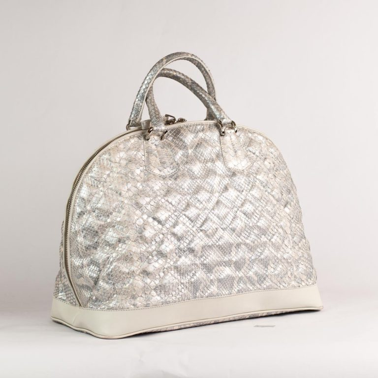 Silver bag in genuine python leather