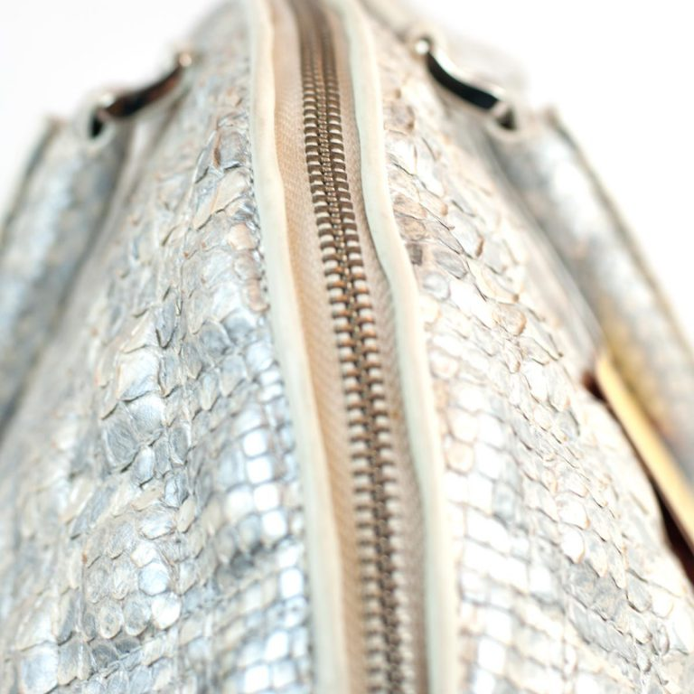 Details of silver bag in genuine python leather
