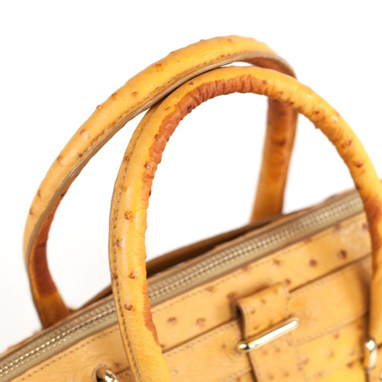 4818 bag details in yellow ostrich leather