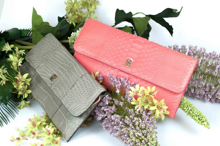 Vera pochette in genuine crocodile and python leather