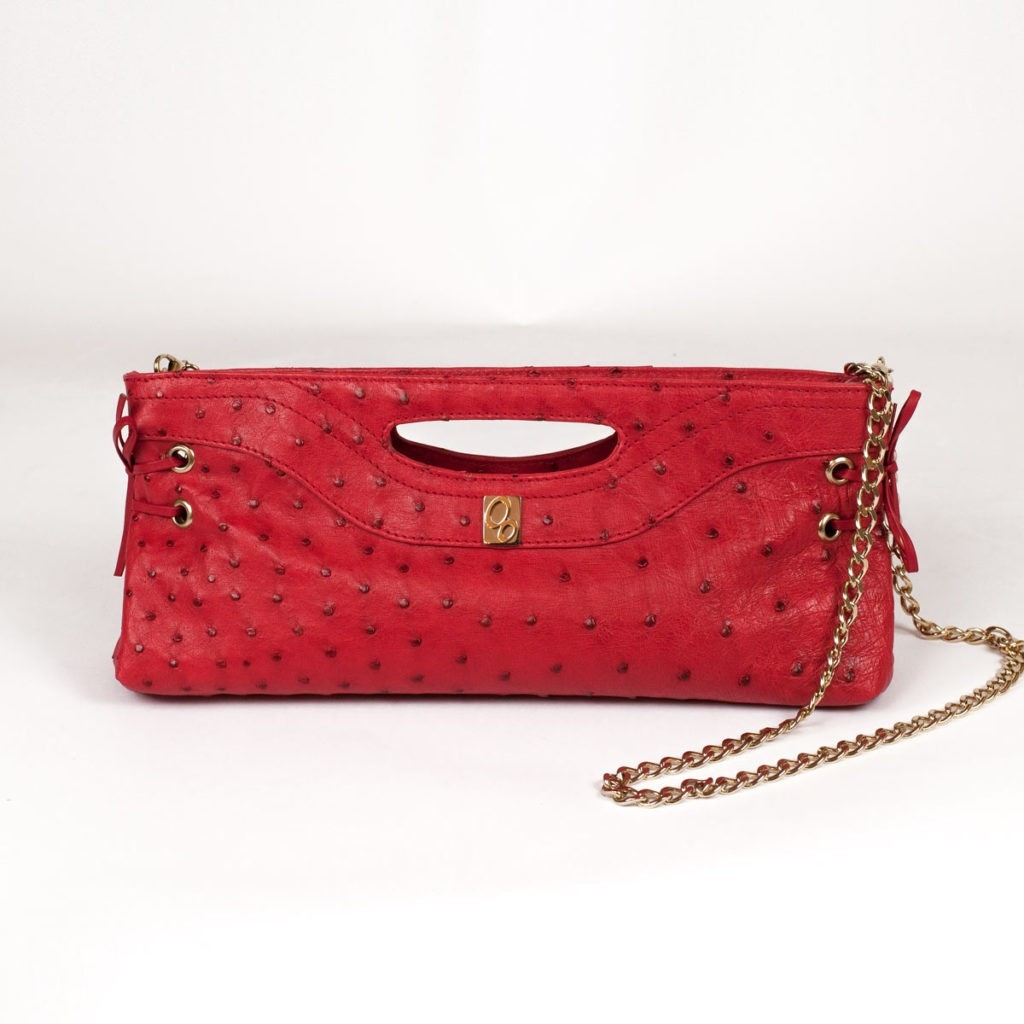Red pochette in genuine leather
