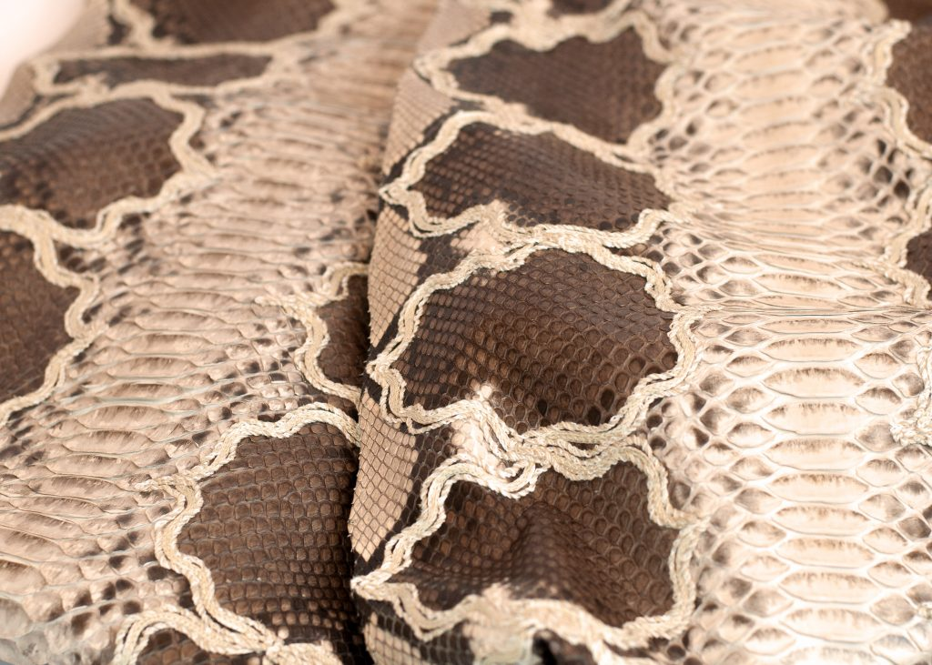 Genuine python skin with neutral base and embroidery by GLENI