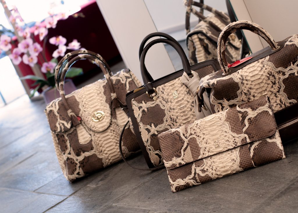 Capsule collection of bags in embroidered caffellatte python leather