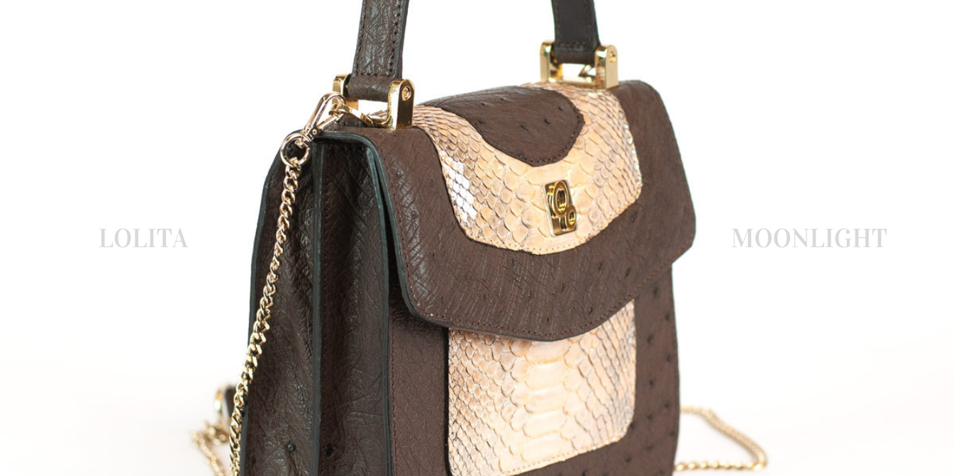 Mini bag in genuine ostrich and python