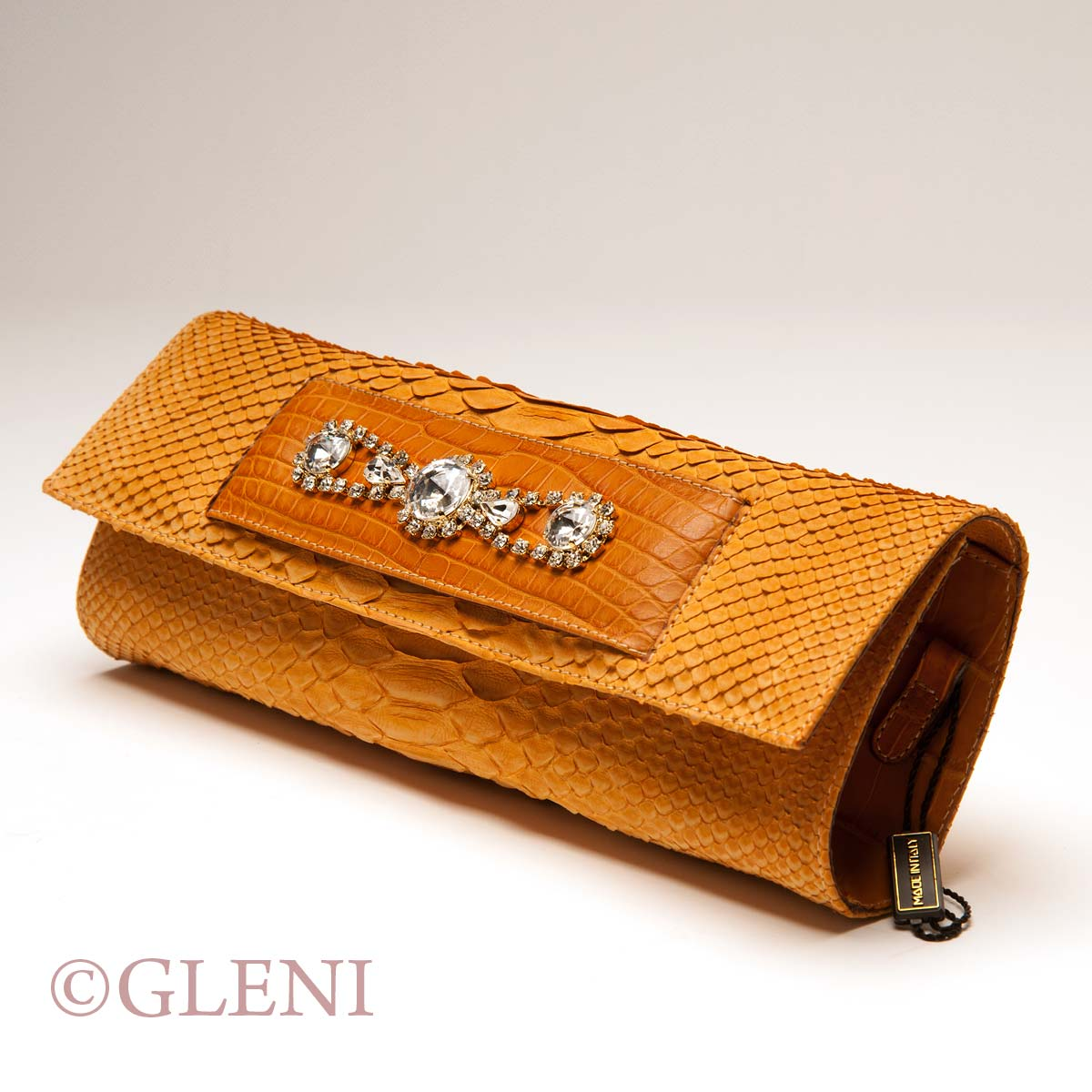 Elegant Whisky Python Clutch With Alligator Details And Rhinestones Fashion Brown