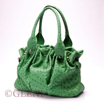 Gorgeous handbag 3838 in green ostrich leather
