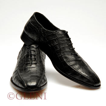 Luxury genuine crocodile shoes Sf 16 in black color