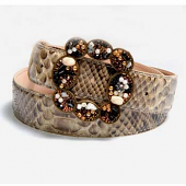 Delicate genuine python leather belt B9008