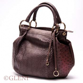 Women's bag in anaconda and ostrich leather in a dark brown tonality