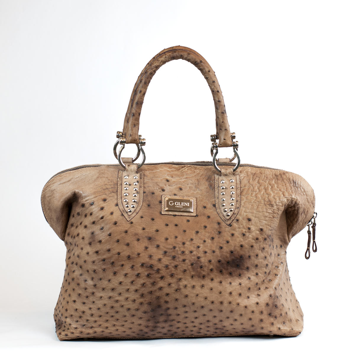 6ea667b92186 Ostrich leather handbag in brown with darker spots