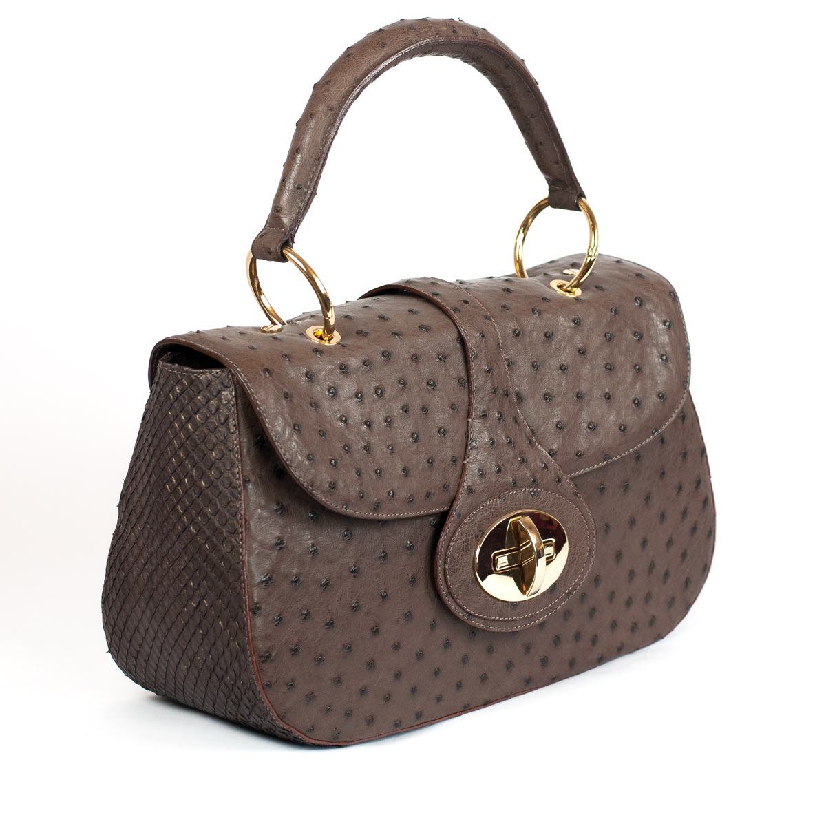 LUXURIOUS OSTRICH AND ANACONDA BAG