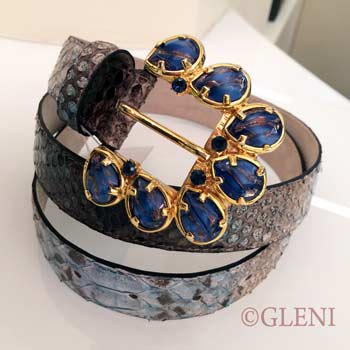 Blue gems encrusted buckle for genuine python belt