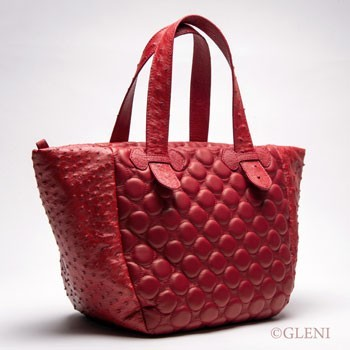 Shopper bag in nappa and ostrich leather