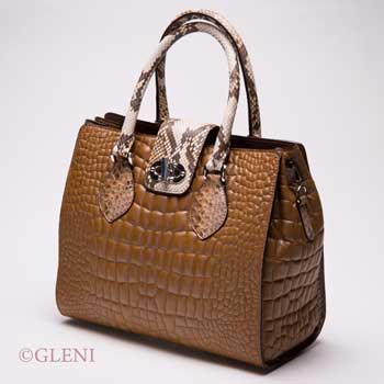 Bag made of Nappa leather and python handles