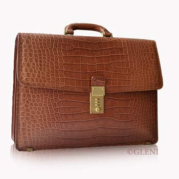 Brief-case made of alligator skin