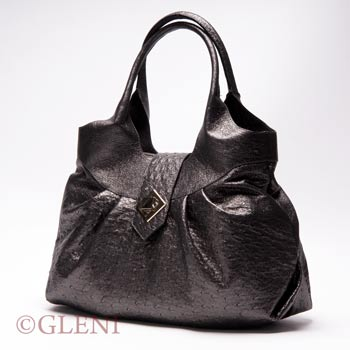 Genuine ostrich leather hobo