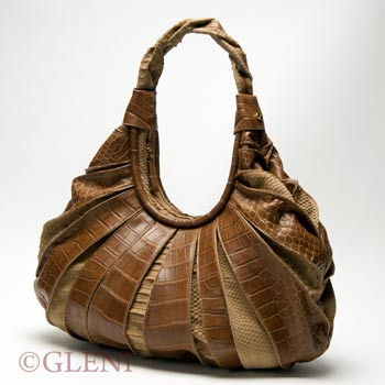 Crocodile and python leather for hobo bag