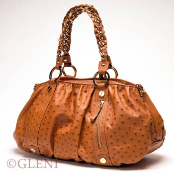 Elegant genuine ostrich shoulder bag