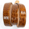 Refined men's belt in genuine crocodile honey