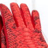 36/5000 Women's gloves in red python leather