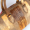 Glamorous genuine python bag in light brown with golden shades