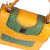 Yellow and green exotic leather bag