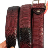 Cyclamen-colored python belt by GLENI