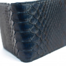 Men's wallet in genuine sapphire blue python leather