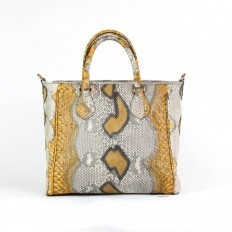 Handbag in yellow and grey python