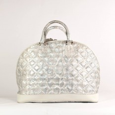 5033 tote bag in genuine silver python leather with an original quilted effect from GLENI
