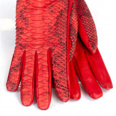 Women's gloves in genuine python and nappa leather