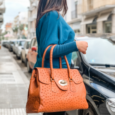"""Dedizione"" bag made of genuine cognac ostrich"
