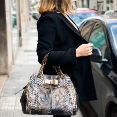"""Tarquinia"" handbag made of genuine forest black FC python"