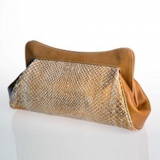 White and copper python clutch La Classica