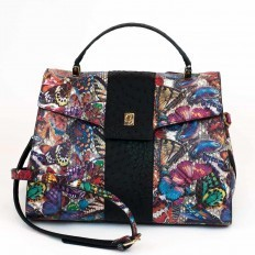 Dama in python leather with printed butterflies