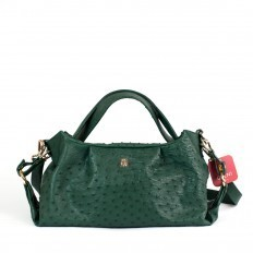 Irina bag in genuine green bottle ostrich leather GLENI