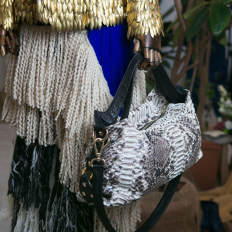 Irina handbag in Roccia python and black ostrich leather