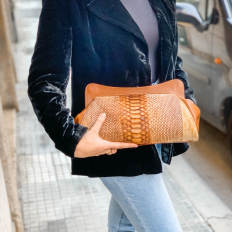 Elegant clutch La Classica in genuine python leather