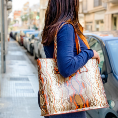 Naif orange python shopper