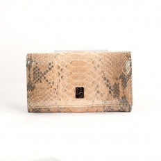 "Wallet ACC/1 in genuine ""satin"" apricot python by GLENI"