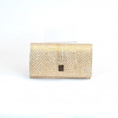 Refined wallet Acc/1 in front cut gold python leather