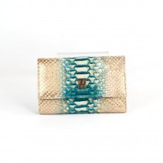 Wallet ACC/2 in genuine gold-turquoise python