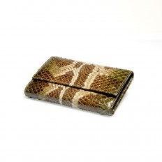 Woman wallet ACC/2 in genuine python leather in semi-shiny green