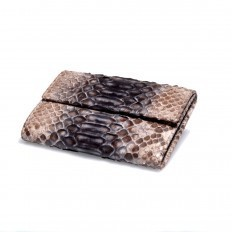 Women's wallet ACC/3 in python leather in matte blue and roccia